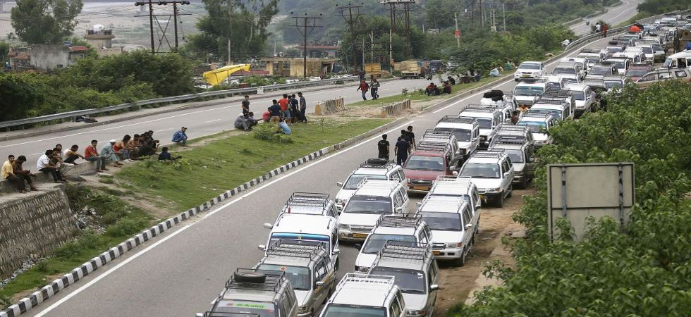 Taxis stand parked roadside during restrictions in Jammu (Photo Source: PTI)