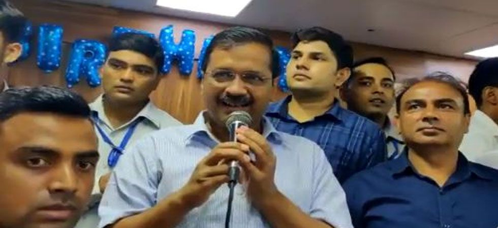 Arvind Kejriwal addressed his party workers who came to greet him on his 51st birthday. (Image Credit: PTI)