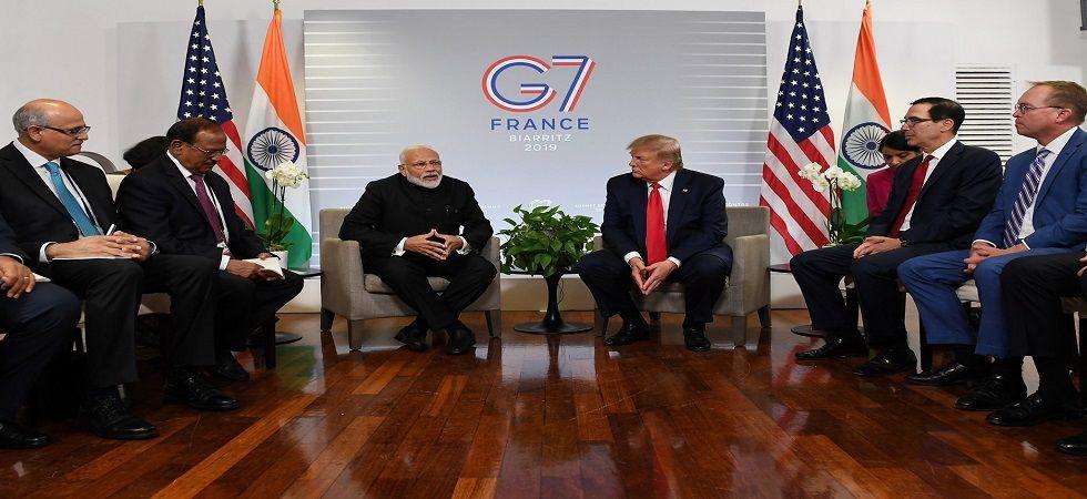 Prime Minister Narendra Modi and US President Donald Trump on the sidelines of G7 Summit on Monday. (Twitter/Narendra Modi)