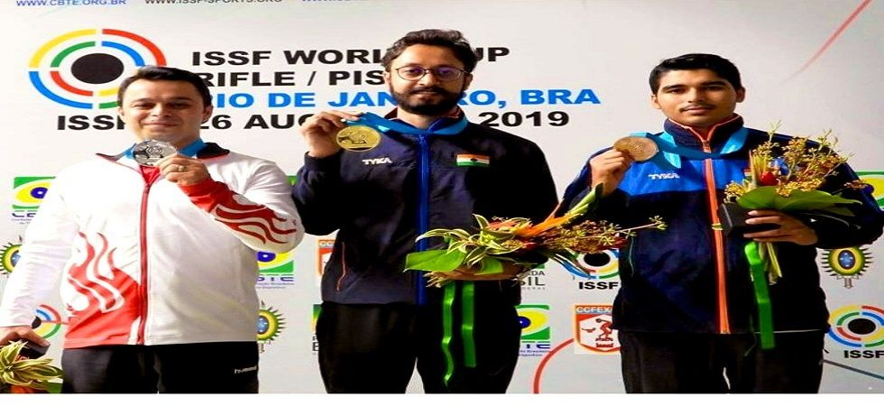 Abhishek Verma has secured the gold medal in the 10m air pistol event in the ISSF World Cup in Rio de Janeiro. (Image credit: Twitter)