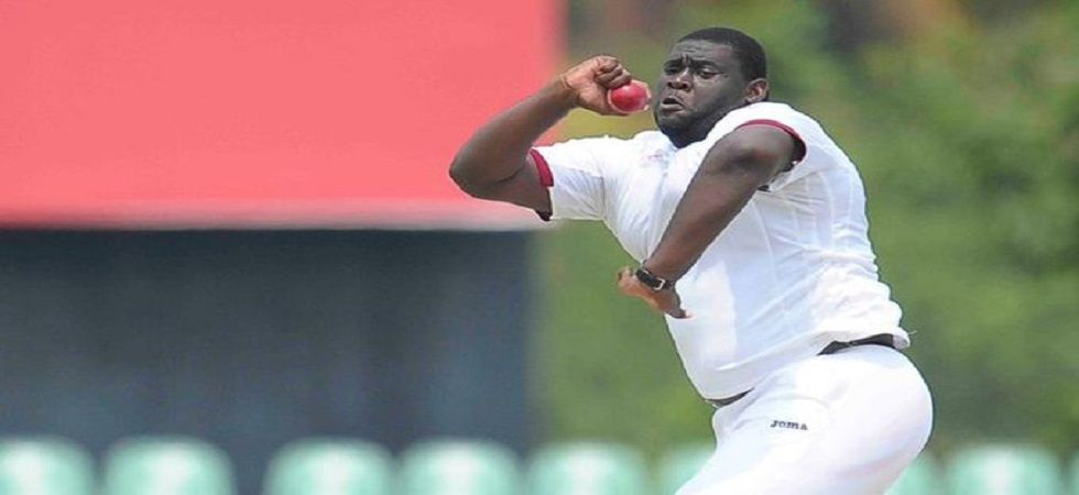 Rahkeem Cornwall weighs 140 kg and his height is six foot five inches as he became the heaviest cricketer to play Test cricket. (Image credit: Twitter)