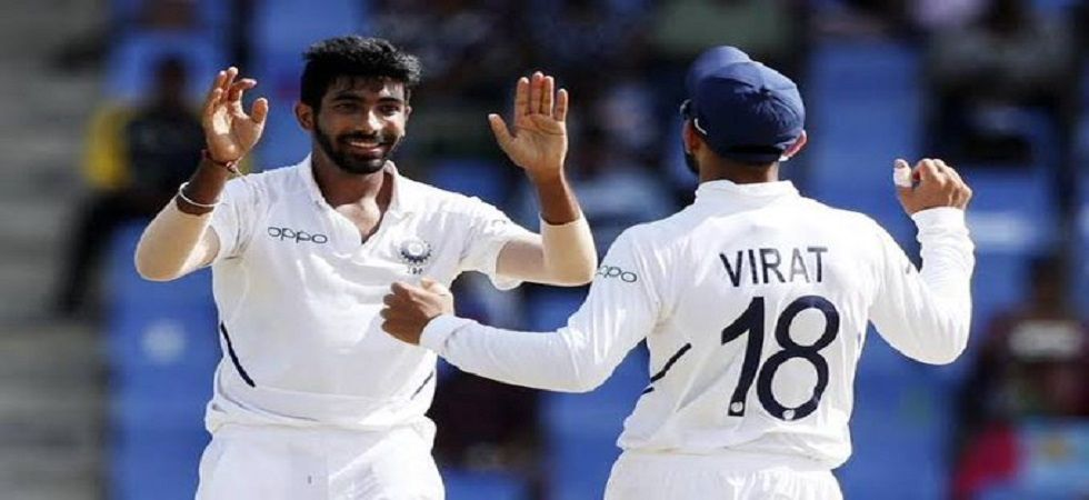 Jasprit Bumrah took 6/16 and his spell also included a hat-trick as India were on top against the West Indies. (Image credit: Twitter)