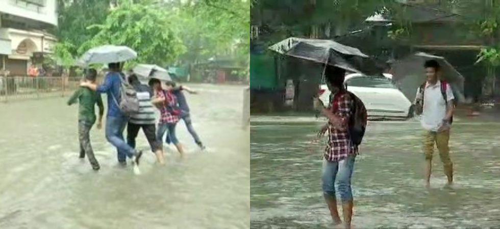 Sion area gets waterlogged following rainfall in Mumbai. (Photo credit: ANI)