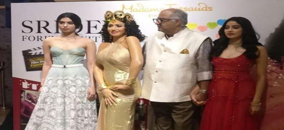 Sridevi' s Wax Figurine Unveiled, Boney Kapoor Gets Nostalgic As he Clings To Janhvi