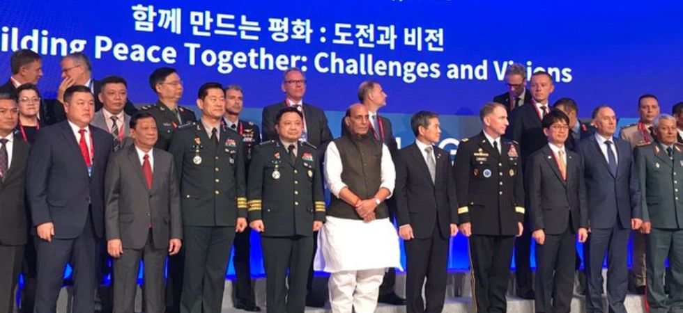 Union Defence Minister Rajnath Singh attends a special session of 'Seoul Defense Dialogue' in Seoul. (Photo: Rajnath Singh/Twitter)