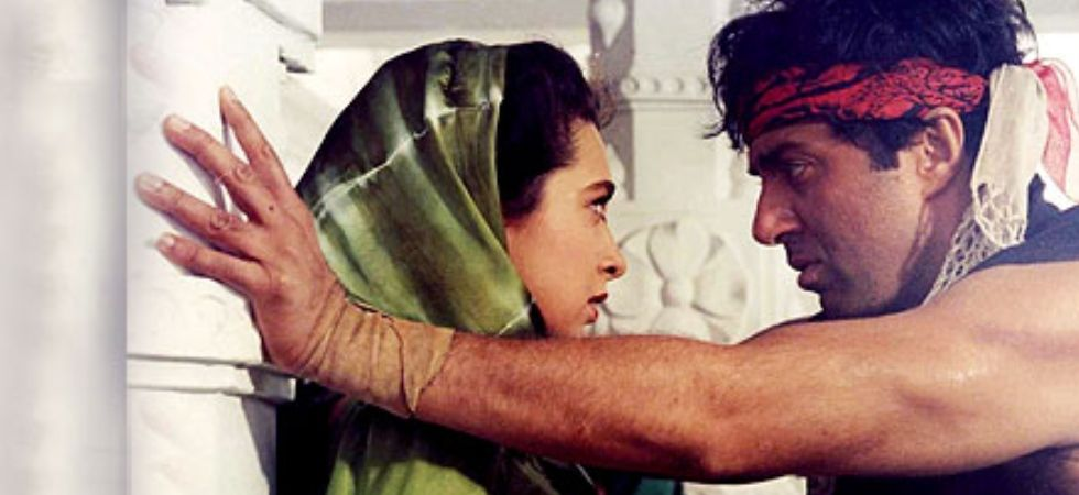 Sunny Deol and Karisma Kapoor in a still from Bajrang (Pic courtesy : Youtube)
