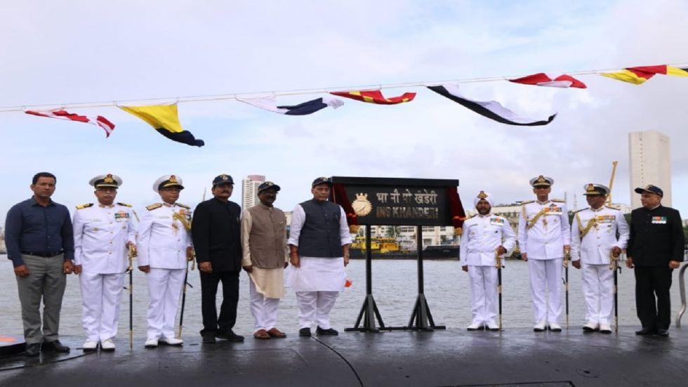 Defence Minister Rajnath Singh at the commissioning of INS Khanderi (Photo Source: Twitter - @rajnathsingh)