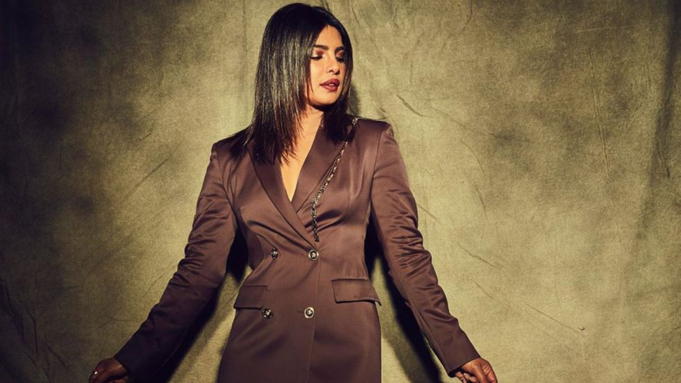 Priyanka Chopra opts for blazer dress for The Sky Is Pink promotions. (Image: Instagram)