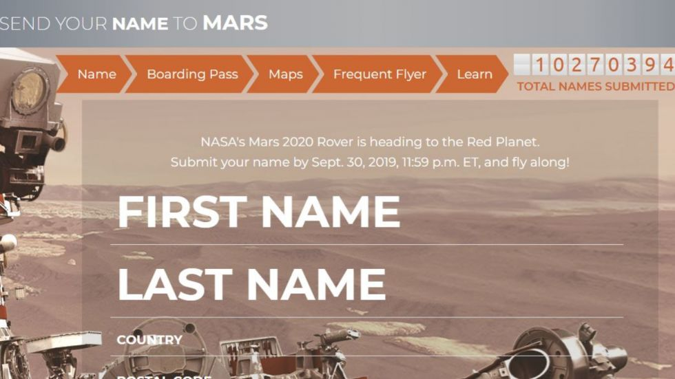 Final Opportunity To Send Your Name On Mars (Photo Credit: Screenshot/mars.nasa.gov)