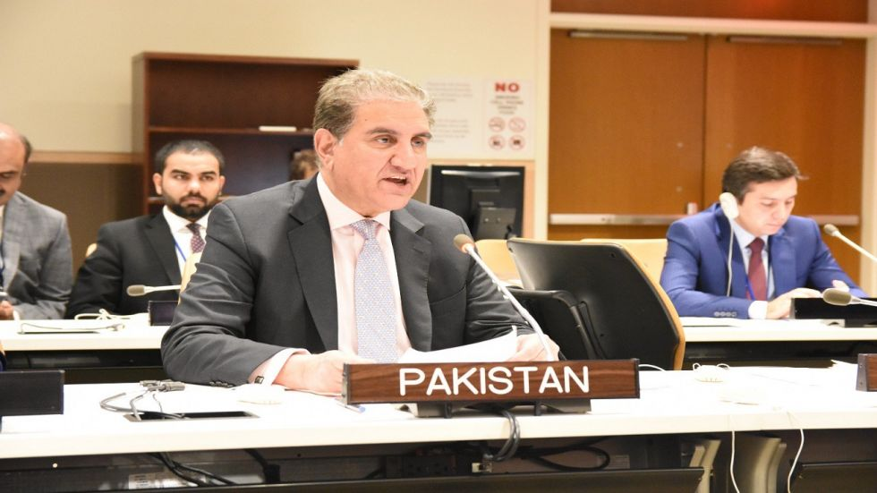Qureshi said that Pakistan got joint statement on behalf of over 50 countries(Photo tweeted by @SMQureshiPTI)
