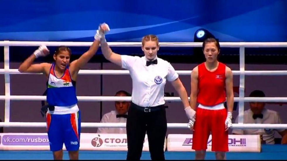 Manju Rani stunned top seed and last edition's bronze-medallist Kim Hyang Mi of South Korea 4-1.