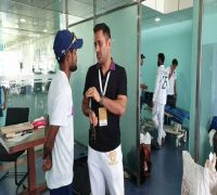 MS Dhoni Vists Indian Dressing Room In Ranchi After South Africa Whitewash