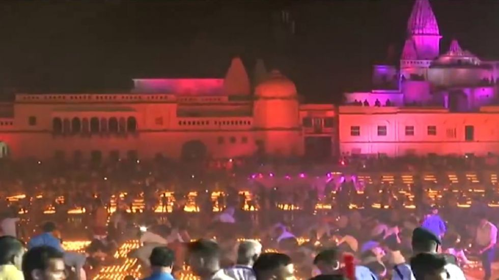 Ayodhya creates world record by lighting over 5.50 lakh earthen lamps.