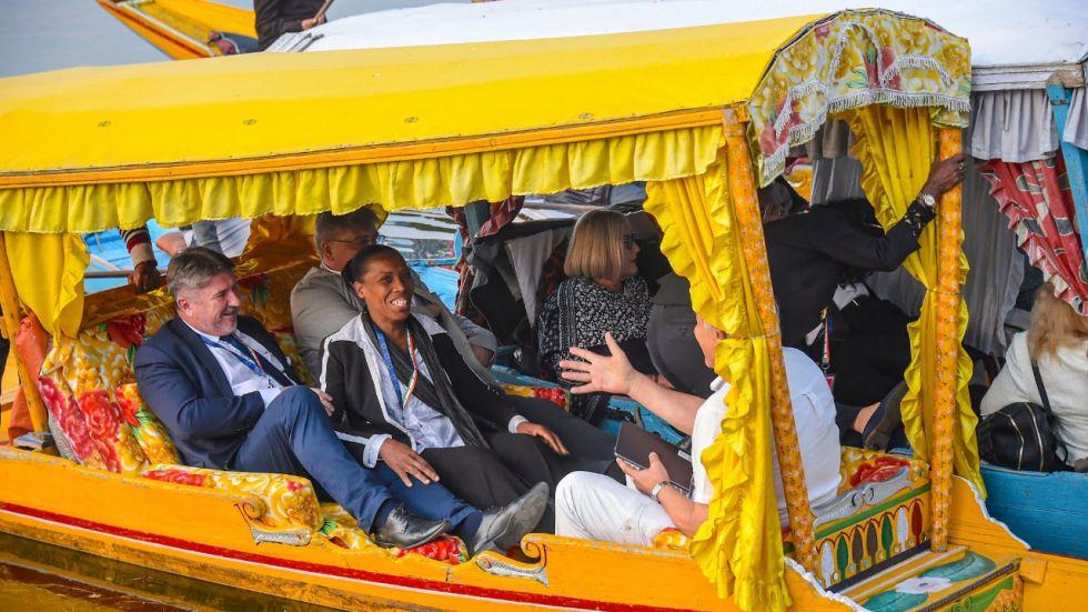 Members of European Union Parliamentary delegation during a shikara ride at Dal Lake in Srinagar, Tuesday, October 29, 2019.
