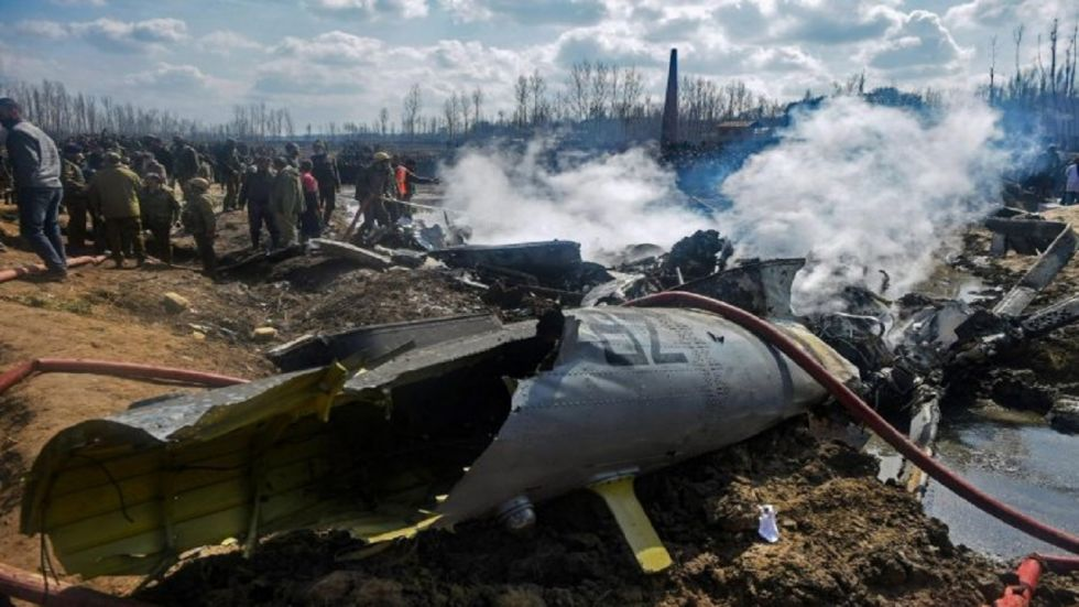 Six personnel were killed in a helicopter crash after a friendly fire over Srinagar on February 27.
