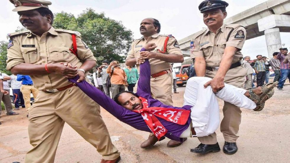 Left part activists supporting TSRTC employees being detained during a protest in Hyderabad.