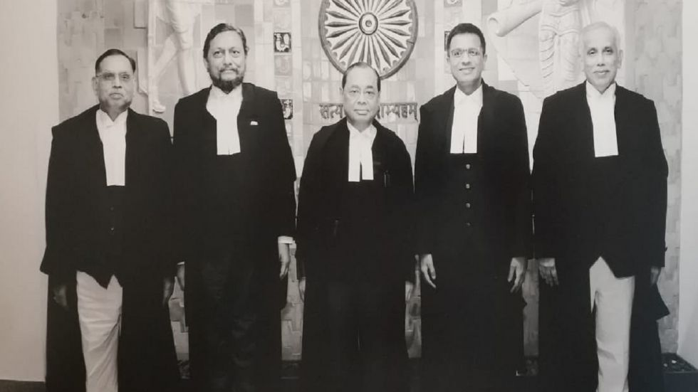 Chief Justice Ranjan Gogoi (centre) and other four judges who prounounced the Ayodhya verdict.