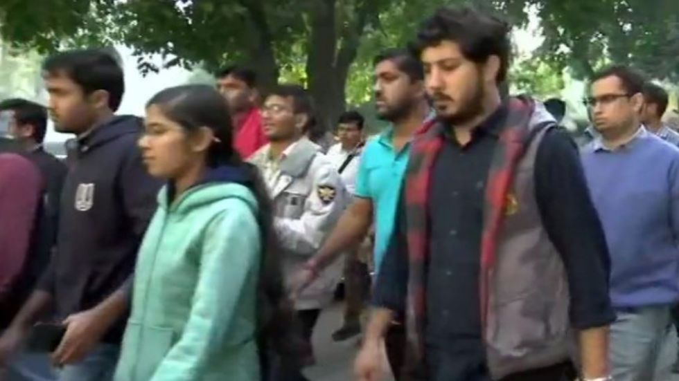JNU students arrived for meeting on Wednesday