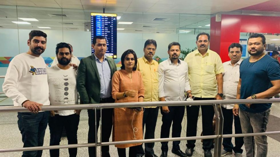 NCP MLAs - Anil Patil (third from right, in yellow shirt) and Daulat Daroda (fifth from right, in yellow shirt), were reportedly missing. Now they have been brought back.