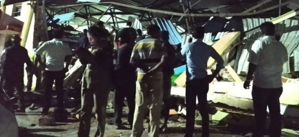 Railway parcel service building collapses in Tamil Nadu's Coimbatore (Photo Credit: Twitter/ANI)
