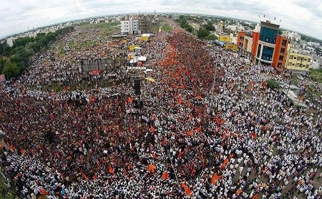 In Pictures Maratha reservation protest paints Mumbai saffron