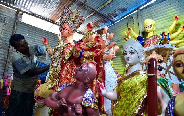 West Bengal Chief Minister Mamata Banerjee inaugurates Goddess Durga Puja Pandal preparations of festival in Kolkata