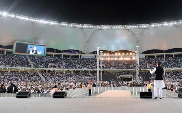 Huge crowd gathers at Congress president Rahul Gandhi's rally in UAE