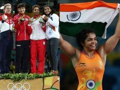 Historic moment! Sakshi Malik with a bronze medal