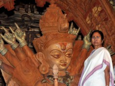 West Bengal Chief Minister Mamata Banerjee inaugurates Goddess Durga Puja Pandal preparations of festival in Kolkata
