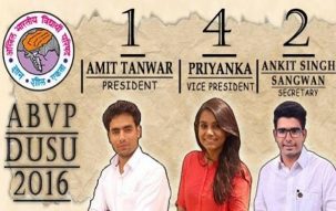 ABVP wins President, Vice President and Secretary posts, NSUI wins Joint Secy