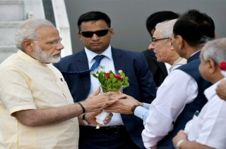 PM Narendra Modi reaches Ahmedabad to address BJP workers