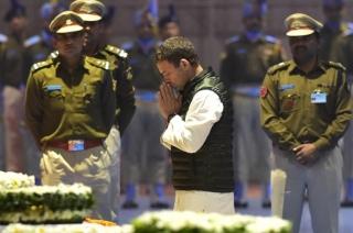 Congress president Rahul Gandhi pays tribute to CRPF jawans