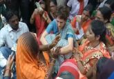 Priyanka Gandhi gets emotional while meeting victims of Sonbhadra killings at Chunar guest house